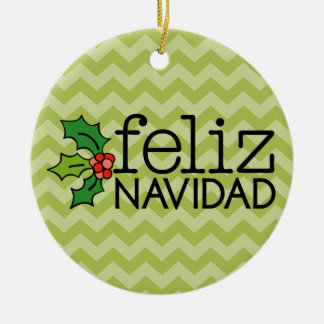 Feliz Navidad with green chevrons Ceramic Ornament