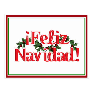 Feliz Navidad with Holly Postcard