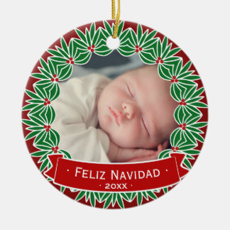 Feliz Navidad Your Own Personalized Holiday Photo Ceramic Ornament