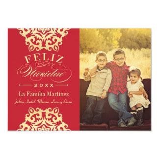 Feliz Tarjeta de la Foto de Navidad en Rojo y Oro Card