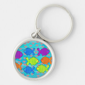 Fell in love fish Silver-Colored round key ring