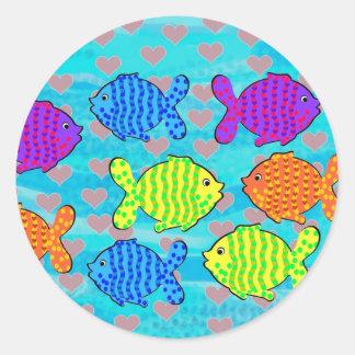 Fell in love fish round sticker