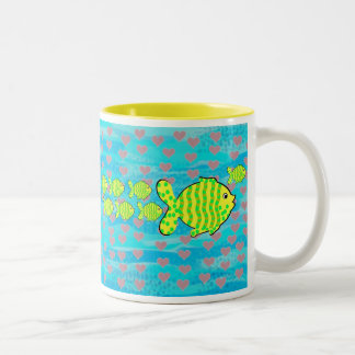 Fell in love fish Two-Tone mug