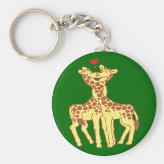 fell in love giraffes giraffes with love basic round button key ring