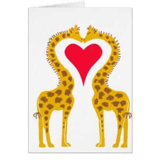 fell in love giraffes greeting card