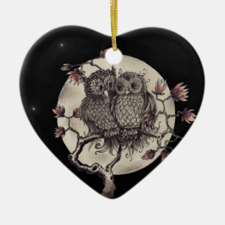 Fell in love owls - Owls with Love Ceramic Heart Decoration