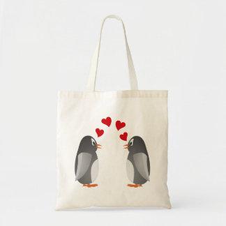 fell in love penguins penguins love canvas bag