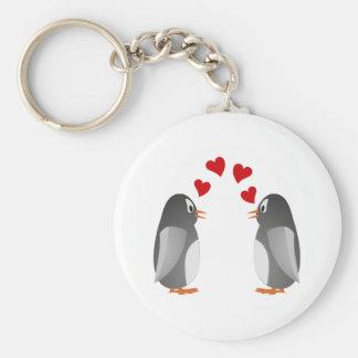 fell in love penguins penguins love basic round button key ring