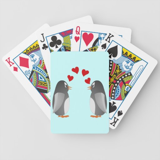 fell in love penguins penguins love bicycle poker cards