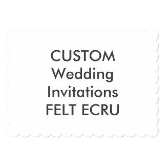 "FELT ECRU 110lb 7x5"" Scalloped Wedding Invitations"