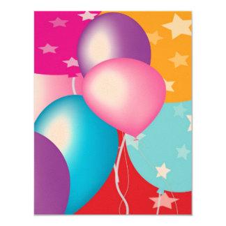 "Felt Paper 4.25"" x 5.5"" Children's Party Baloons 4.25x5.5 Paper Invitation Card"