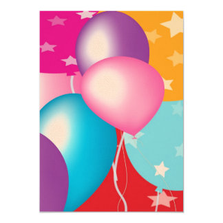 "Felt Paper 5"" x 7"" Baloons on Front V2 13 Cm X 18 Cm Invitation Card"