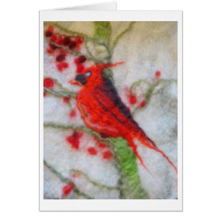 Felted Art - Cardinal and winter berries Greeting Card
