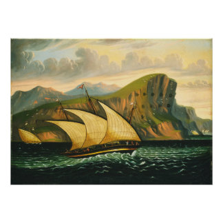 Felucca off Gibraltar by Thomas Chambers Poster