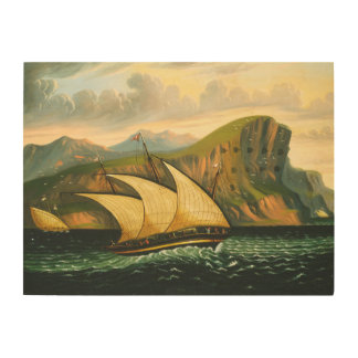 Felucca off Gibraltar by Thomas Chambers Wood Print