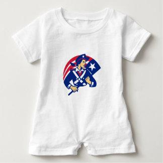 Female American Minuteman Holding Flag Retro Baby Bodysuit