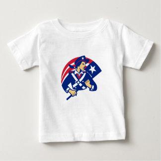 Female American Minuteman Holding Flag Retro Baby T-Shirt