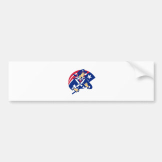 Female American Minuteman Holding Flag Retro Bumper Sticker