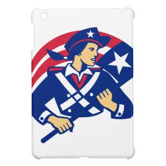 Female American Minuteman Holding Flag Retro Cover For The iPad Mini