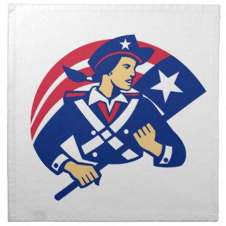 Female American Minuteman Holding Flag Retro Napkin