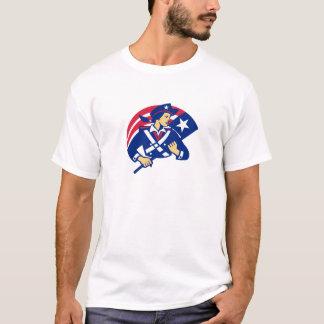 Female American Minuteman Holding Flag Retro T-Shirt