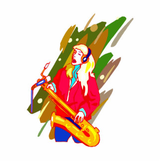 Female Baritone Sax Player Singing Graphic Design Cut Out