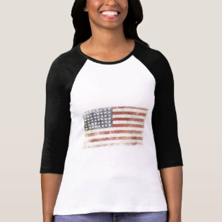 Female Baseball Jersey with USA Flag T Shirts