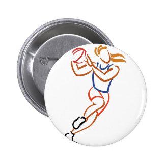 Female Basketball Player 6 Cm Round Badge