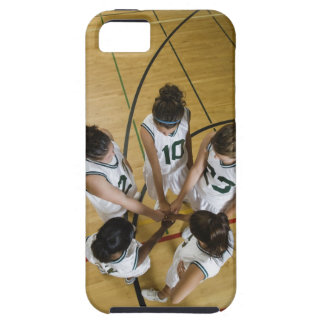 Female basketball team having group handshake, iPhone 5 case