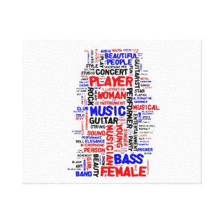 Female bass player wordle 1 red blue black gallery wrap canvas