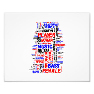 Female bass player wordle 1 red blue black art photo