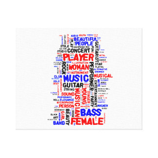 Female bass player wordle 1 red blue black stretched canvas print