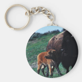 Female bison with a calf keychain