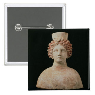 Female bust with kalathos from Ibiza 5th century Pinback Buttons