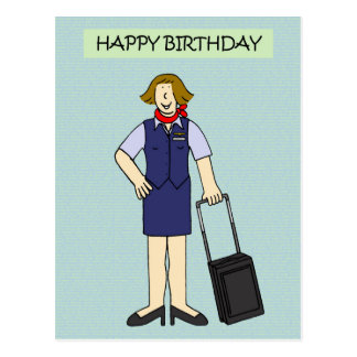 Female Cabin crew Birthday. Postcard
