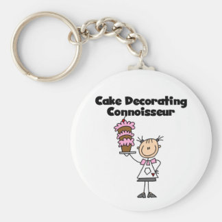 Female Cake Decorating Connoisseur Basic Round Button Key Ring