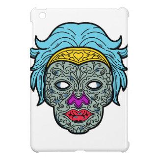 Female Calavera Sugar Skull Mono Line iPad Mini Case