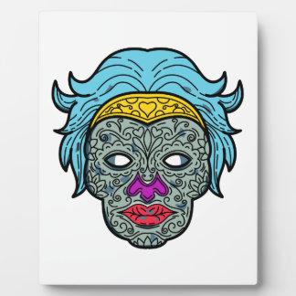 Female Calavera Sugar Skull Mono Line Plaque