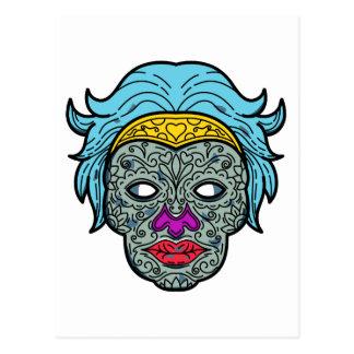 Female Calavera Sugar Skull Mono Line Postcard