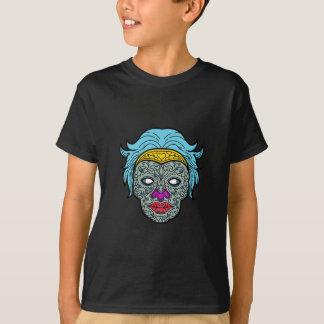 Female Calavera Sugar Skull Mono Line T-Shirt