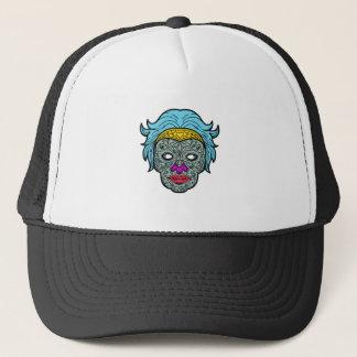Female Calavera Sugar Skull Mono Line Trucker Hat