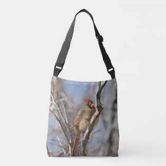 Female cardinal crossbody bag
