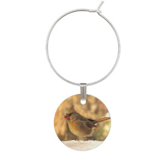 Female Cardinal in Autumn Wine Charm