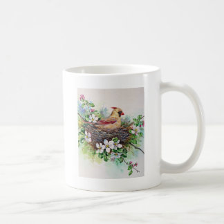 Female Cardinal Redbird in Nest Mug Cup