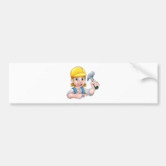 Female Carpenter Woman Cartoon Character Bumper Sticker