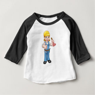 Female Cartoon Plumber Holding Plunger Baby T-Shirt