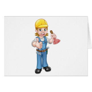 Female Cartoon Plumber Holding Plunger Card