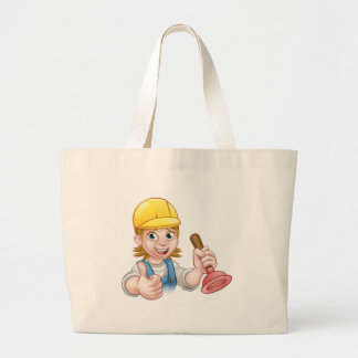 Female Cartoon Plumber Holding Plunger Large Tote Bag