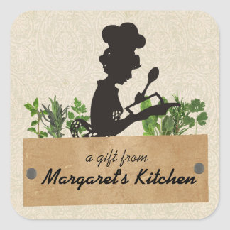 Female chef silhouette herb cooking gift tag label square sticker