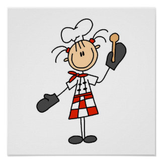 Female Chef With Mitts and Wooden Spoon Poster